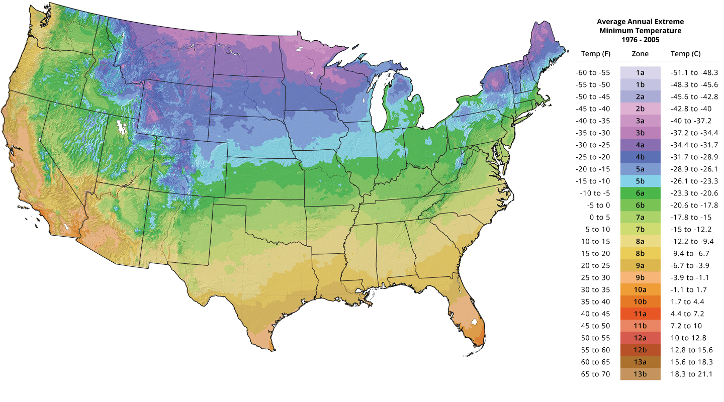 Plant Hardiness Zone Map Tree Growing Zones The Tree Center - Us-plant-hardiness-zone-map